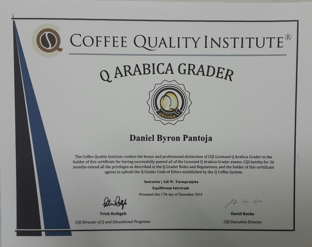 Byron pantoja passes cqis arabica quality grader certification coffee for peace also congratulates the four candidates from among byrons batch who also passed this exam xflitez Gallery